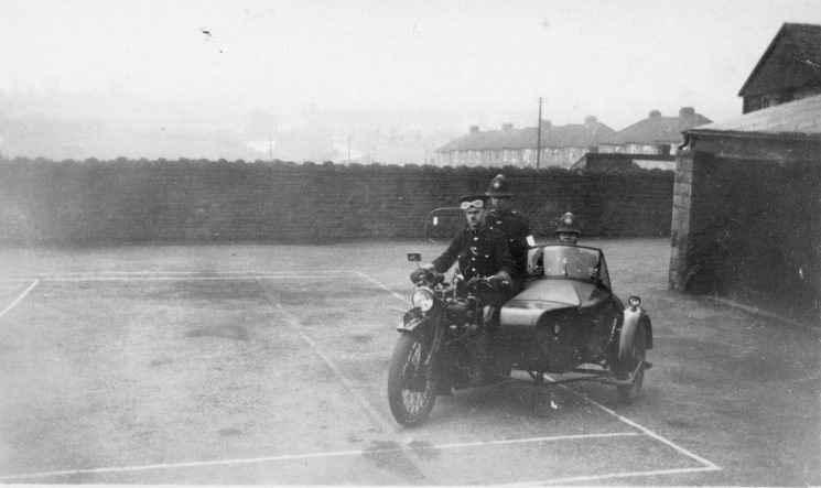 Three officers on a motorbike and sidecar at Staple Hill. (Gloucestershire Police Archives URN 10447) | Photograph from Ray Ricketts