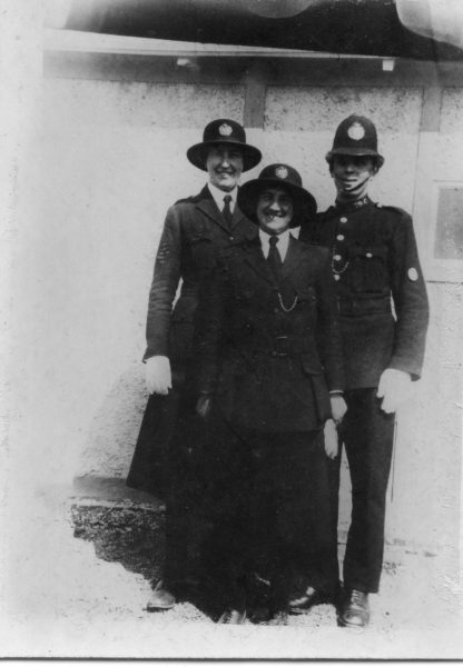 Woman Police Constable Lodge with another Woman Police Constable and Police Constable 79  (could be Walter Ryland) taken at Staple Hill. (Gloucestershire Police Archives URN 10452) | Photograph from Ray Ricketts
