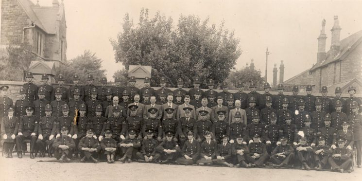 Divisional parade at Staple Hill Police Station. Thought to be about 1939 (Gloucestershire Police Archives URN 1222)
