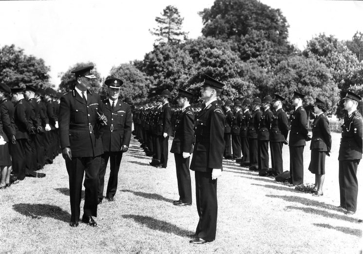 Divisional parade in Page Park Staple Hill. Thought to be the summer of 1962. (Gloucestershire Police Archives URN 1648)