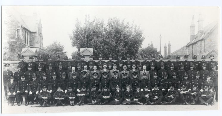 B Division at Staple Hill Police Station, Woman Police Constables Lodge (left) and Brimble at either end. (Gloucestershire Police Archives URN 188)