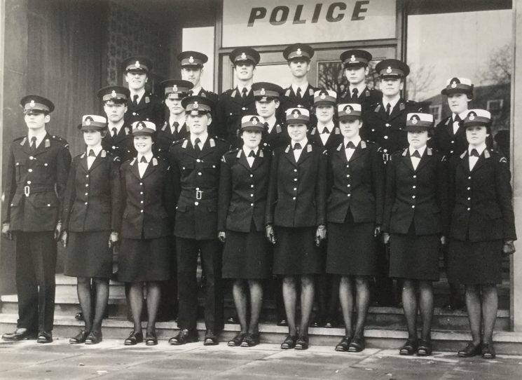 Presentation of First Aid Certificates January 1977. Gloucestershire Police Cadets outside Cheltenham Police HQ. (Gloucestershire Police Archives URN 10519)