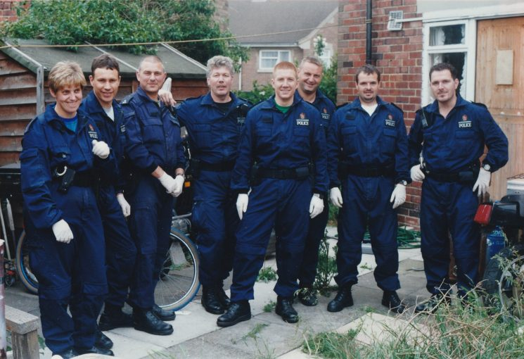 Gloucester Support Group on search location in Coneyhill, Gloucester 1997. From left to right Tracy Hopson, Craig Rowe, Mick Camp, Eddie Hanna, Gary Thompson, Mark Crawford, Rich Hunt and Ron Curnock. (Gloucestershire Police Archives URN 10561)