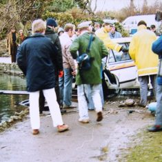 There was a lot of interest once the vehicle was removed from the lake. (Gloucestershire Police Archives URN 3120)