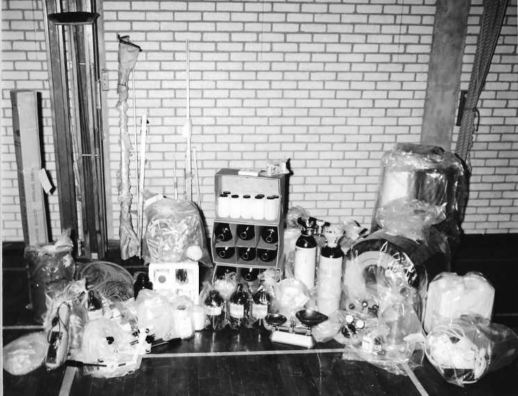 Operation Julie. Laboratory equipment for the manufacture of drugs. (Gloucestershire Police Archive URN 1480-1)