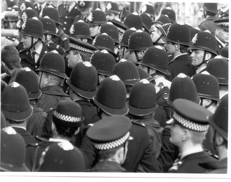 Officers at 1990 Conservative Party Conference. (Gloucestershire Police Archive URN 5570)