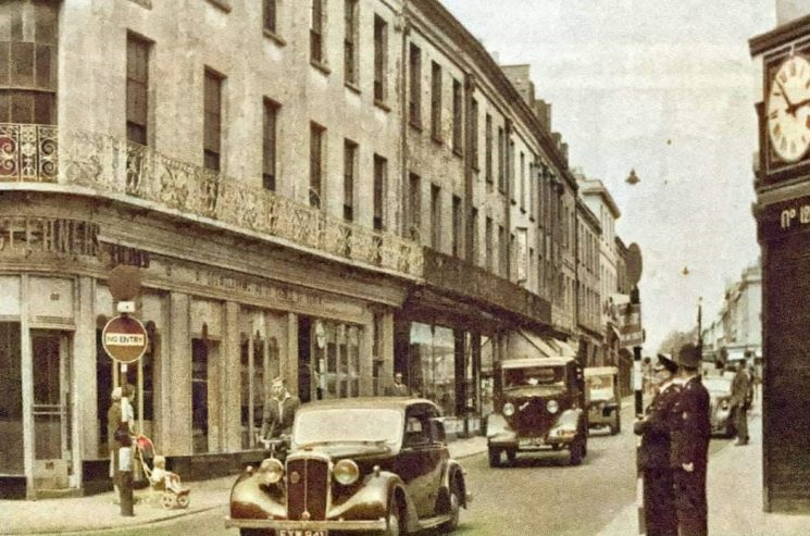 Police officers monitoring  traffic in Pittville Street Cheltenham Before the road changes in the late 1950s. (Gloucestershire Police Archives URN 10609) | Photograph from Martyn Hillier