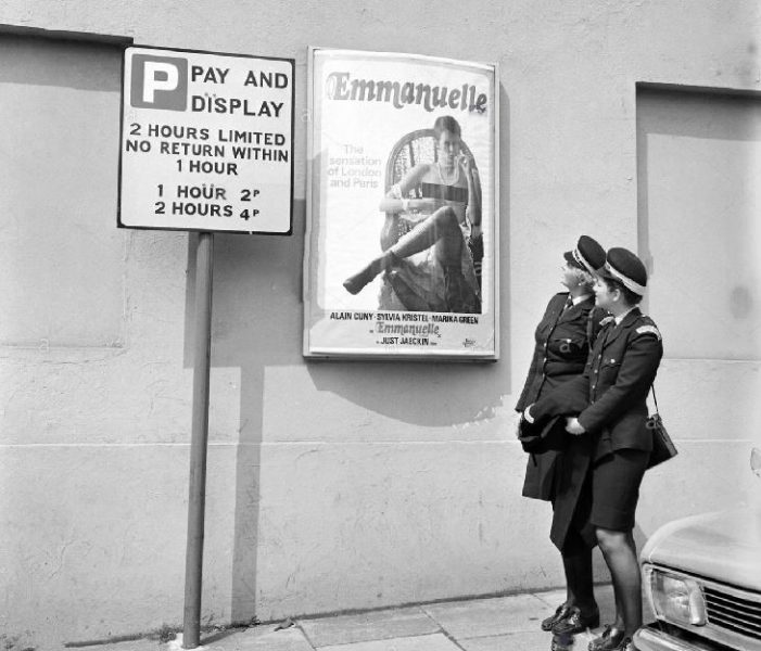 1974 traffic wardens outside the ABC Cinema in Cheltenham. (Gloucestershire Police Archives URN 10613) | Thank you to Martyn Hillier