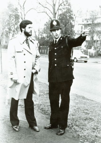 Police Constable Richard Barton 20th January 1982 with John Madison from Madison City. (Gloucestershire Police Archives URN 10691) | Photograph from Richard Barton