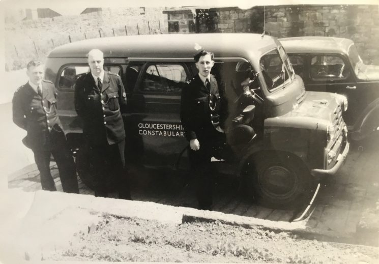 Officers and Commer van. Officer at far left Police Constable 631 Ray Fortey. (Gloucestershire Police Archives URN 10701) | Photograph  from Tim Fortey
