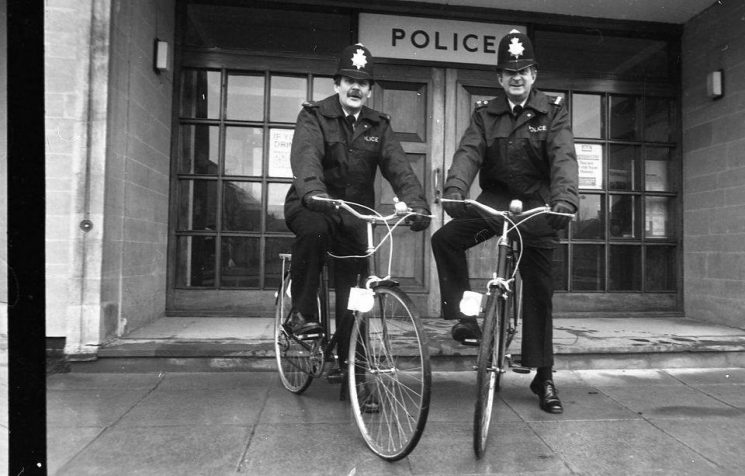 Two beat bobbies taking to their local bobby areas. Pete Statham was Stratton and Beeches and Barry Manning was Chesterton and Siddington Road 1987. (Gloucestershire Police Archives URN 10708)