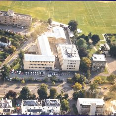 Aerial photograph of the Lansdown Road  site before the purchase of Wilton House from Dean Close and before the demolition of the Winfield Hospital. Wilton House was then used as the training department. (Gloucestershire Police Archives URN 10731)