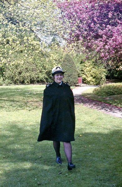 Woman Police Constable Di Gibbs modelling the new hat and cape. (Gloucestershire Police Archives URN 10739) | Photograph from Dave Hanks and further information from Martyn Hillier