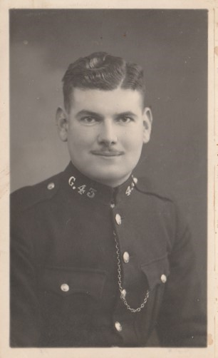 Police Constable 43 William Newman, known as Tiny, joined Gloucestershire Constabulary in 1937. This photograph thought to have been taken when he joined the force. (Gloucestershire Police Archives URN 10745) | Photograph from Jenifer Hone