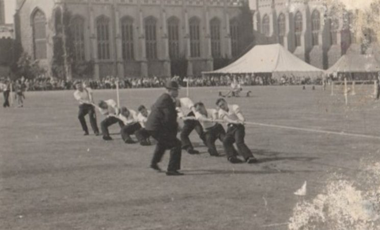 Tug of war team Sports Day Cheltenham College Includes Police Constable 43 William Newman as anchor man. (Gloucestershire Police Archives URN 10749)