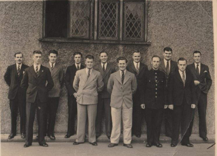 Pre war recruits Police Constable 43 William Newman known as Tiny second from right back row. Other officers who joined at the same time were:  Albert R.J. Carter, Albert R Tombs, Richard P. Tibbots, John A.C. Franklin, Donald M. Hill-Davey, Leslie J. Neave, Cecil C. Packer, Guy H. Brown, Douglas H.G. Baker, Victor F Batstone, John H.R. Attwood. (Gloucestershire Police Archives URN 10751)