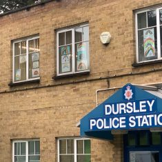 Dursley police station decorated with donated rainbow pictures in support of key workers. (Gloucestershire Police Archives URN 10774-18)