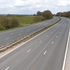 The M5 near Cam was quiet at 1.45 pm on Saturday 4th April 2020. (Gloucestershire Police Archives URN 10775-28)