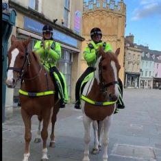 While on patrol in Cirencester the horses stopped while their riders  clapped for the NHS April 2nd 2020.(Gloucestershire Police Archives URN 10776-4)