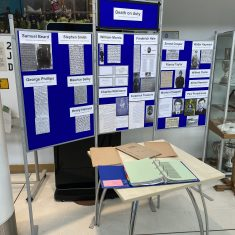 Display created for service at police Headquarters to commemorate those officers who have died or received fatal injuries while on duty. (Gloucestershire Police Archives URN 10861-1)